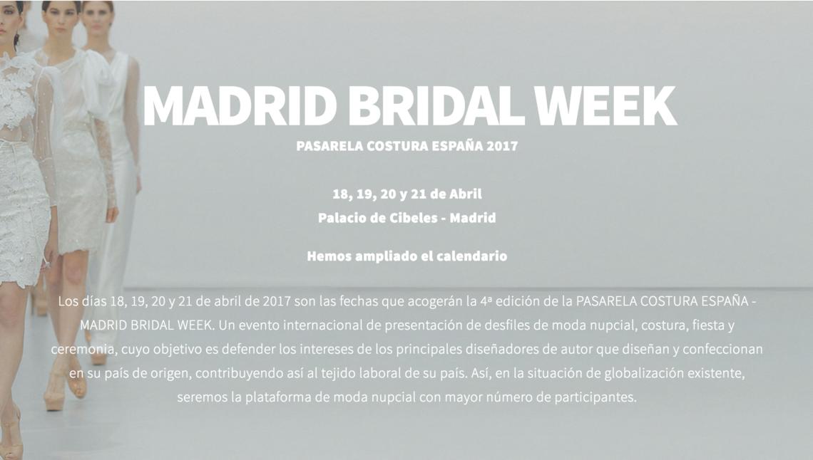 Portada Madrid Bridal Week 2017