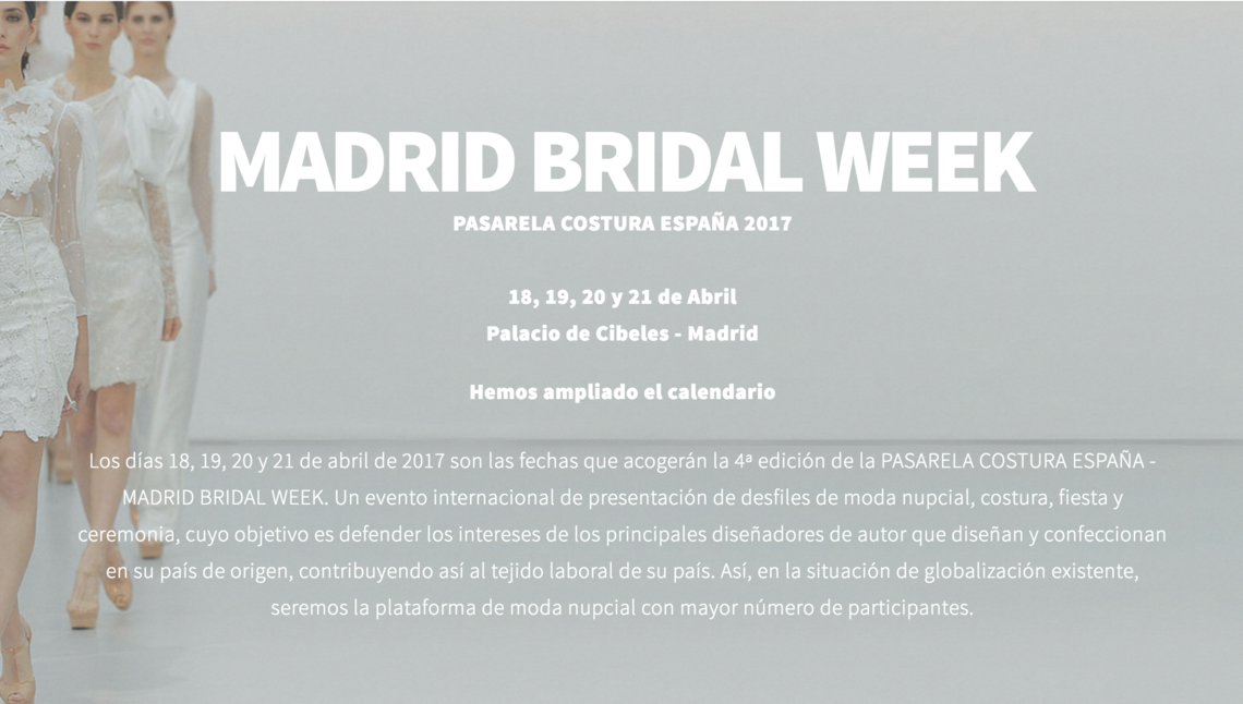 Portada Madrid Bridal Week 2017
