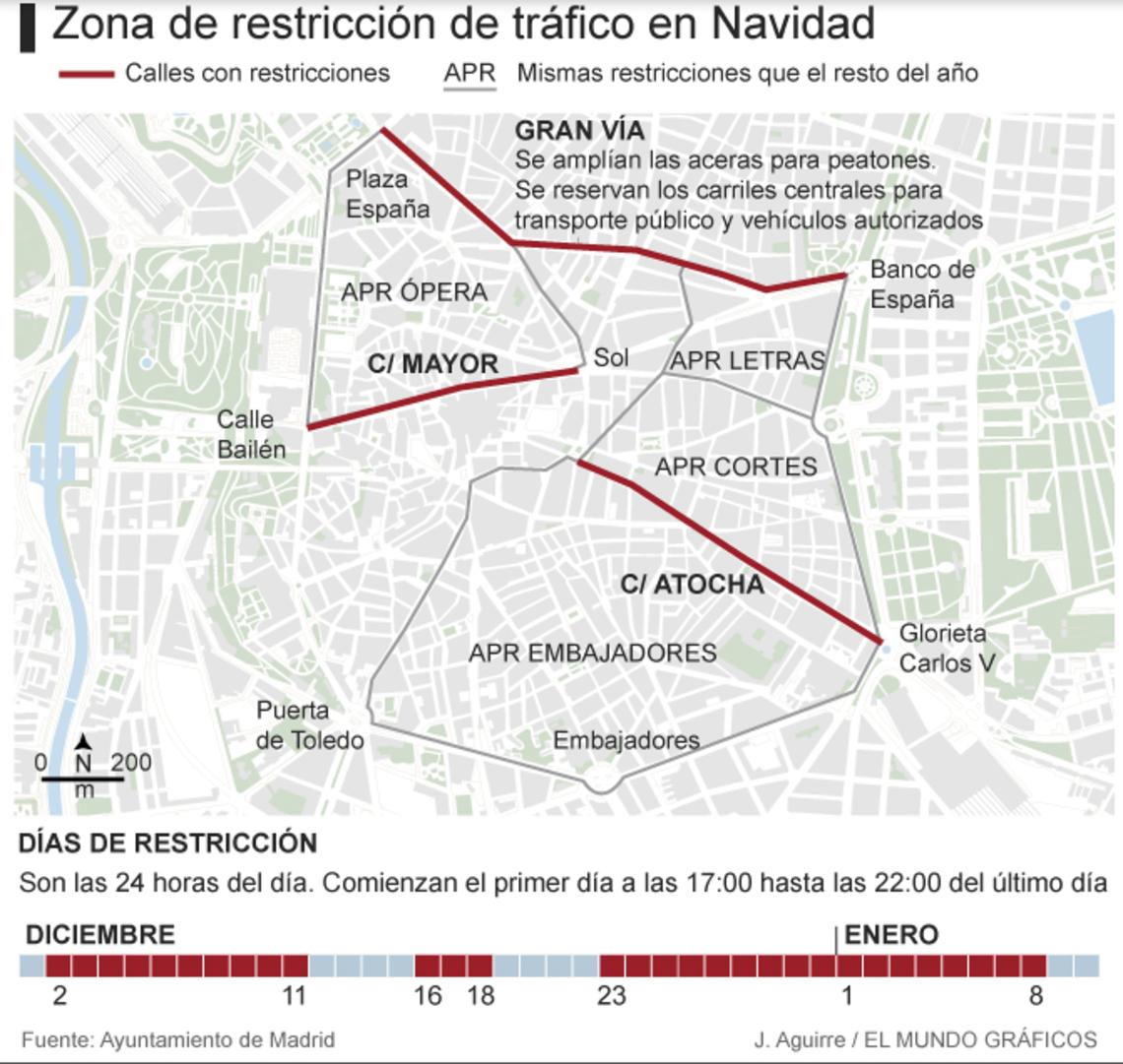 Plano calles acceso restringido Navidad 2016